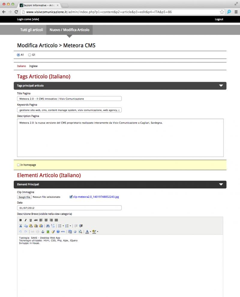 Meteora CMS - Dettaglio Articolo